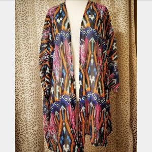 Colorful sheer bathing suit cover up